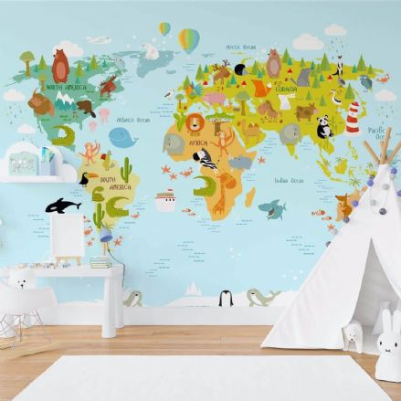 Animals Cartoon Map of the World non-woven wallpaper